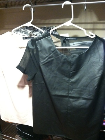 Faux leather t-shirts with sheer backs in black and nude