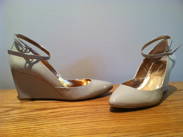 BCBG Patent Ankle Wedges