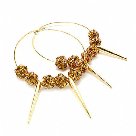ivys-35-inch-gold-spiked-and-brown-crystal-studded-hoop-earrings