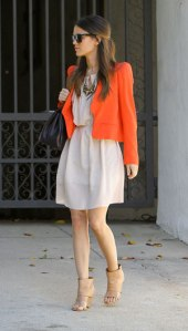 Rachel-Bilson-Orange-Jacket-Nude-Open-Toe-Booties